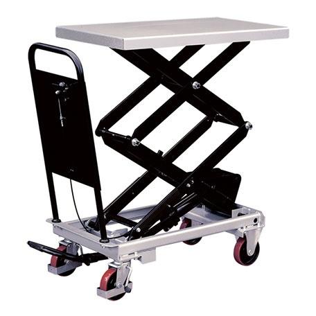 Lyftbord på hjul | Mobilt Manuellt Lyftbord, Dubbelsax, 800 kg, 520 x 1010 mm