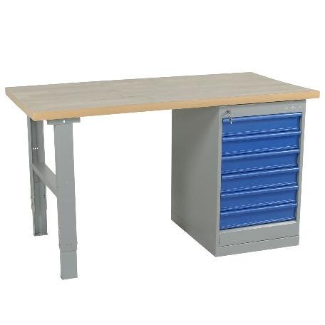 Arbetsbord | Justerbart arbetsbord 1600-2000mm med vinylskiva - 6 lådor