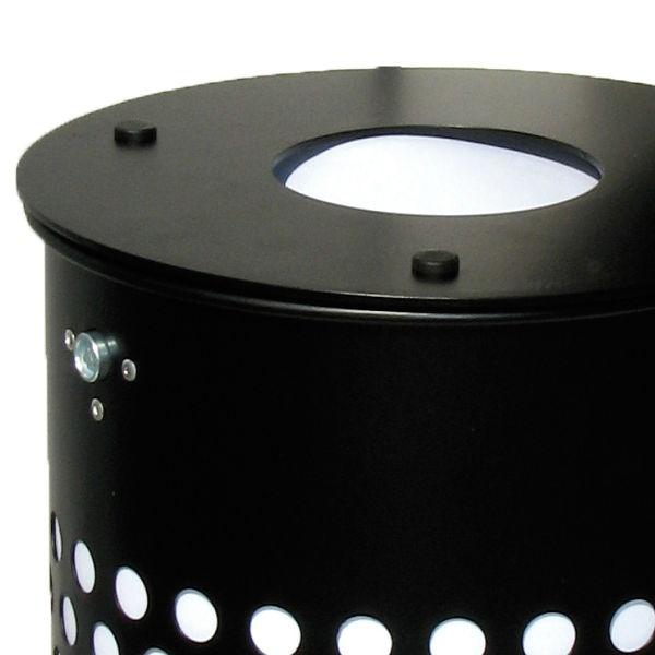 Papperskorg | Cylinder 50L med dubbla lock-centrumstolpe, svart