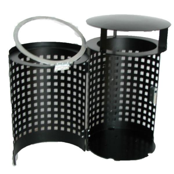 Papperskorg | Cylinder 50 med tak och centrumstolpe