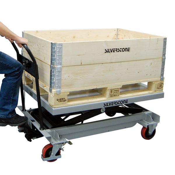 Lyftbord på hjul | Mobilt Manuellt Lyftbord, 500 kg, 800 x 1200 mm