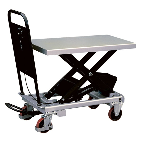 Lyftbord på hjul | Mobilt Manuellt Lyftbord, 750 kg, 520 x 1010 mm