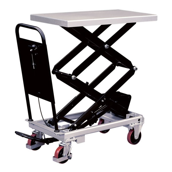 Lyftbord på hjul | Mobilt Manuellt Lyftbord, Dubbelsax, 300 kg, 520 x 1010 mm