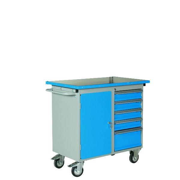 Verktygsvagn | Verktygsvagn 5 lådor & 1 skåp med vinylskiva