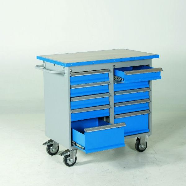 Verktygsvagn | Verktygsvagn 10 lådor med vinylskiva