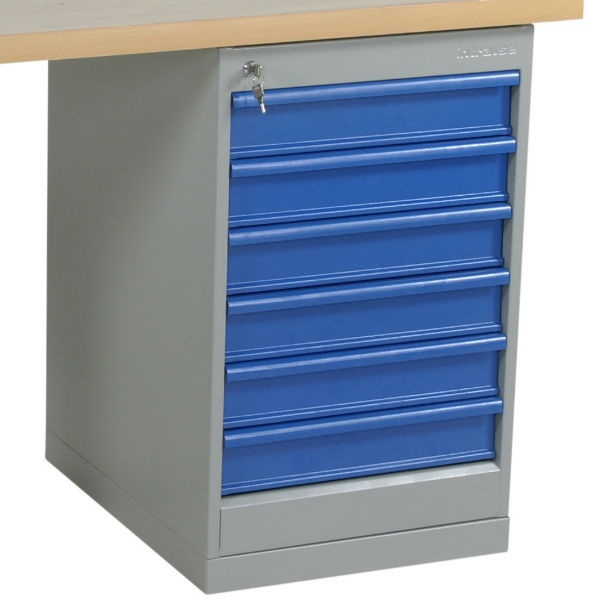 Arbetsbord | Justerbart arbetsbord 1600-2000mm med ekskiva - 6 lådor