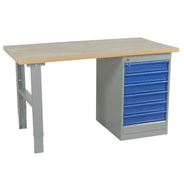 Arbetsbord | Justerbart arbetsbord 1600-2000mm med stålskiva - 6 lådor